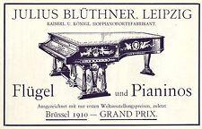 Julius Blüthner Leipzig FLÜGEL und PIANINOS Historische Reklame von 1911