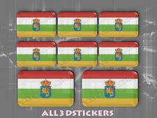 8 x Pegatinas 3D Relieve Bandera La Rioja - Todas las Banderas del MUNDO