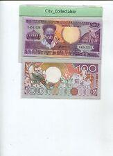 WORLD BANK NOTE - 1986 SURINAME 100 GULDEN RGINOCEROS BIRD UNC  # B097