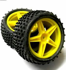 06010 1/10 Off Road RC Buggy Front Wheels / Tyre Yellow x 2