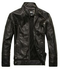 New Fashion Men's  Leather Coat Trench Casual Motorcycle Jackets Outwear