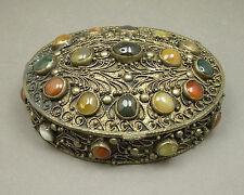 Vtg or Antique India Silver Cannetille Filigree Semi Precious Stone Trinket Box