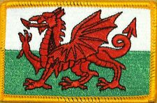 WALES FLAG Embroidered Iron-On PATCH WELSH EMBLEM UK Gold Border #01