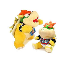 "Set of 2 10"" Super Mario Bros King Koopa Bowser & 7"" Bowser Jr Plush Stuffed"