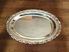 """Large 18"""" oval antique heavy silverplate serving tray"""