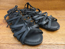 New Look Black Leather Gladiator Sandals Size UK 4 EUR 37