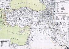 Echte 156 Jahre alte Landkarte Türkei TÜRKİYE Osmanlı İmparatorluğu Syrien 1860