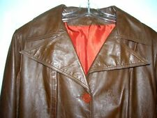 Vintage c.1980's Womens FULL LENGTH LEATHER Coat Jacket BROWN SZ 11 12 Israel
