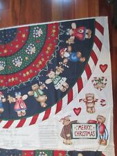 "Christmas Tree Skirt Fabric Panel x 2  Can ""Bearly"" Wait Diana Marcus Holidays"