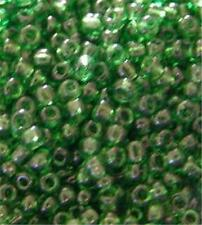 40gm PACKET OF GLASS SEED BEADS - TRANSPARENT GREEN - SIZE 11/0
