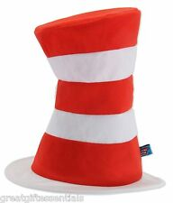 Dr Seuss CAT IN THE HAT Costume Top Hat Adult Red White Striped Tricot LICENSED