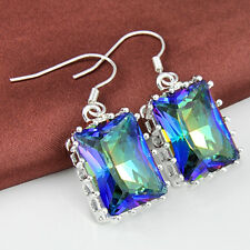 Huge Gems Mother's Day Gift Rainbow Colored Mystic Topaz Silver Dangle Earrings