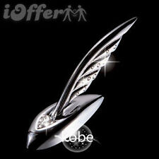 Car Chrome Crystal Hood Ornament Badge Emblem Feather Plumage Angel Wing Silver