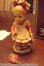 "Anri Sarah Kay Wooden carving SIGNED  ""Off to School"", 6"" tall NIB with catalog"