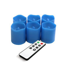 6PCS Blue Flameless Candles LED Votive Candles Tealights with Remote and Timer