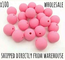 100 pink 10mm Silicone Wholesale Round Beads Necklace Baby Safe Chew Teething