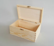 Pine Wood Storage Chest Jawellery Decoupage Wooden Box 22.5x14.5x11 Lid Tool