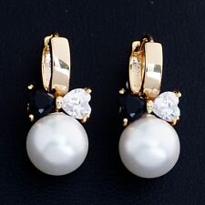 Gift Box Pack Gold Plated Clear Black Cubic Zircon Bow Pearl Girl Hoop Earrings