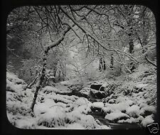 VICTORIAN Glass Magic Lantern Slide THE GLEN IS WHITE WITH DRIFTED SNOW C1890