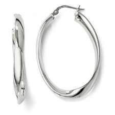 Leslies Sterling Silver Polished Twisted Oval 4mm x 35mm Hoop Earrings