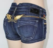 100% AUTHENTIC NEW WOMEN ROBIN'S JEAN SHORTS STUD GOLD EMBROIDERY SZ 28IN