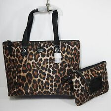 NEW Coach Ocelot Signature Getaway Small Nylon Packable Bag Tote Set F33312 NWT