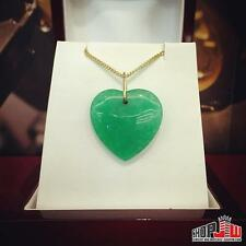 Ladies Natural Green Jade Heart Pendant Love 14k Gold Fashion Jewelry Charm Nice
