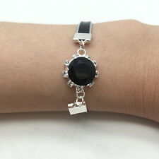 NEW Jewelry Fashion Black Round Crystal Leather Cute Infinity Bracelet Silver S1