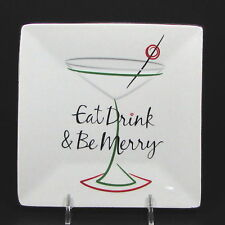 "St. Nicholas Square EAT DRINK & BE MERRY 6"" Square Appetizer Plate Cocktail"