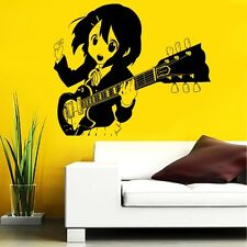 WALL VIINYL STICKER DECAL ART MURAL ANIME MANGA NICE GIRL WITH GUITAR d1594