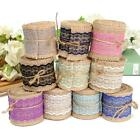2M Jute Burlap Natural Hessian Ribbon With Lace Trim Edge Wedding Rustic Vintage