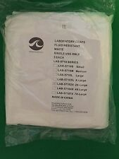 5 White Laboratory Lab Coats Fluid Resistant LAB-57102XL 2X-Large Single Use