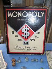 1940's Vintage MONOPOLY GAME Parker Brothers red diamond black box no board
