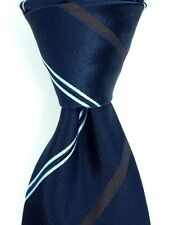 "$295 KITON Napoli 7 Fold Navy Silk Neck Tie w/ Brown & Blue Stripes 3.75""  NWT"