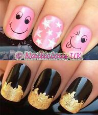 NAIL ART SET #476. SMILEY FACES STARS WATER TRANSFERS/DECAL/STICKERS & GOLD LEAF