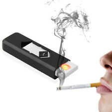 USB Electronic Rechargeable Battery Flameless Cigar Cigarette Lighter Black GU