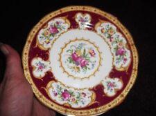 Placa lateral Vintage Dorados bastante floral con borde rojo Royal Albert Lady Hamilton