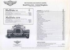 Panther Car Company Original UK  Price List Kallista 1.6 & 2.8 No date