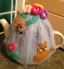 HAND Knitted Copriteiera Cat & Mouse e fiori Tea Cosie stile vintage
