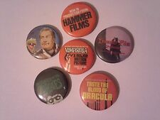 6 Hammer film badges 25mm - House of Horror Vampirella The Plague of the Zombies