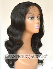 New Natural Looking Synthetic Hair Lace Front Wig Black Body Wave Heat Resistant