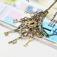 Women Retro Vintage Key Rhinestone Bronze Chain Pendant Necklace Pendant