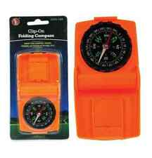 Clip On Folding Compass Orange Color Camping Hiking Fishing Outdoor Gear