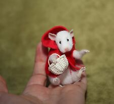 OOAK Needle Felted Miniature mouse Red Hat handmade gift