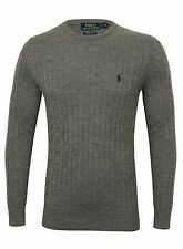 CLEARANCE RALPH LAUREN Mens Cable Knit Crew Neck Sweater In Dark Grey - XL