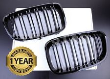 NEW GLOSS BLACK FRONT KIDNEY GRILLS for BMW F20 F21 1 SERIES TWIN SLAT 1M STYLE