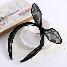 Korean Style Black Women Rabbit Bunny Ear Ribbon Lace Headband Hair band