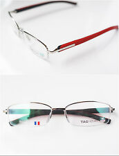 New $435 TAG HEUER Eyeglasses TH 8210 005 55 16 SILVER BLACK RED RX Authentic