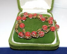 Vintage Murano Italian Red Art Glass Foiled Millefiori Wired Gold Necklace 1c 17