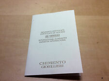 New - CHIMENTO Gioiellieri - Insurance Certificate - International Guarantee